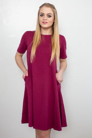 Molly Ann Pocket Dress Wine - Melissa Jean Boutique