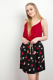 Claire Black Floral Mini Skirt with Pockets