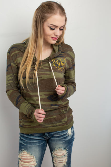 MJB Camo Hooded T-Shirt - Melissa Jean Boutique