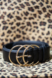 Triple Ring Belt in Black and Gold - Melissa Jean Boutique