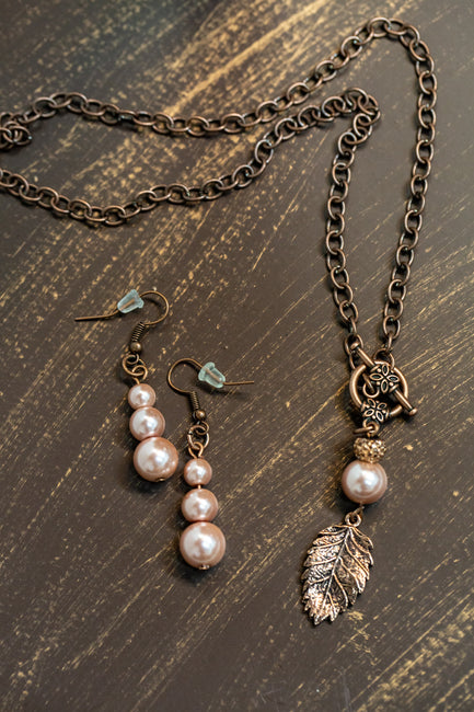 Nature's Blush Gemstone Necklace Set by Dazzled by Donna