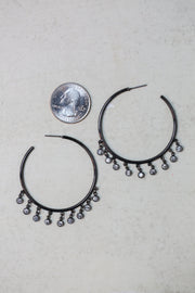 Antique Black Hoop Dangle Earrings - Melissa Jean Boutique