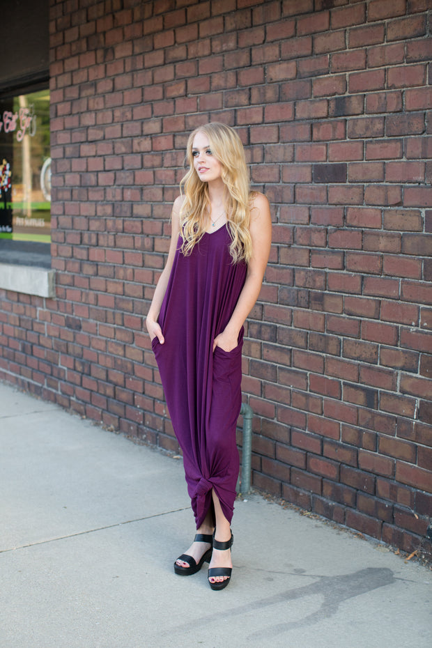 Dark Plum Maxi Pocket Cami Dress - Melissa Jean Boutique