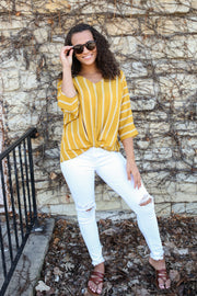Carrie Mustard Yellow Stripe Top - Melissa Jean Boutique