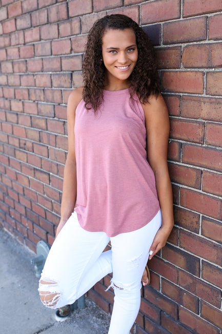 Blush Mock Rocker Tank - Melissa Jean Boutique
