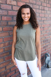 Olive Military Green Mock Rocker Tank - Melissa Jean Boutique