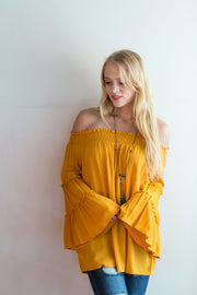 Mustard Off the Shoulder Top - Melissa Jean Boutique