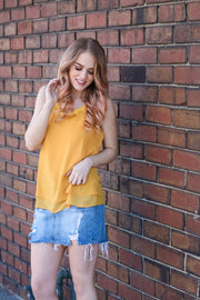 A Little Flair Mustard Cami Top - Melissa Jean Boutique