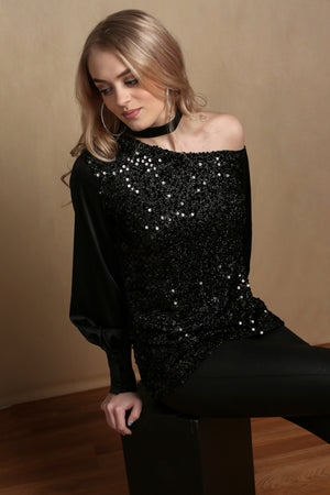 Double Take Black Sequin Top
