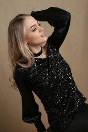Double Take Black Sequin Top - Melissa Jean Boutique