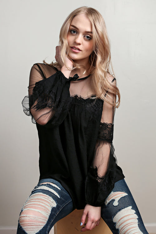 Black Lantern Sleeve Sheer Lace Top - Melissa Jean Boutique