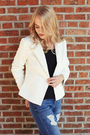 Kick it Up Ivory Blazer Jacket - Melissa Jean Boutique