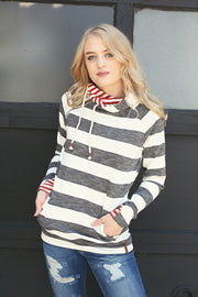 Harvest Stripe Charcoal Burnt Orange & White DoubleHood - Melissa Jean Boutique