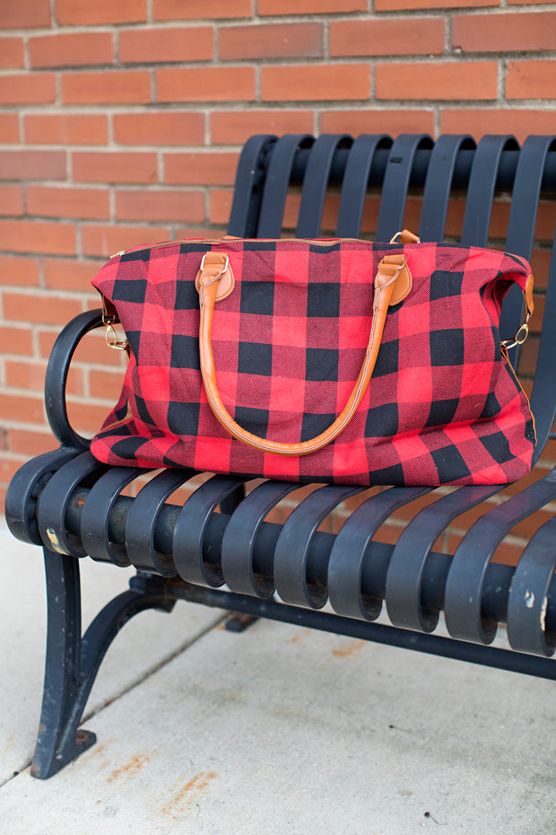 Buffalo Plaid Overnight Bag - Melissa Jean Boutique