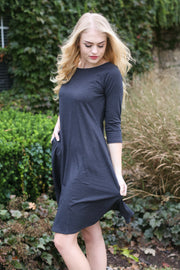 Molly Ann II Charcoal Classic A-Line Dress with Pockets