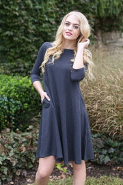 Molly Ann II Charcoal Classic A-Line Dress with Pockets - Melissa Jean Boutique