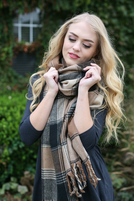 Black Multi Flannel Tassel Scarf