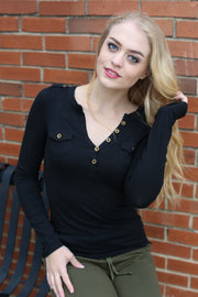 Black T-Shirt Henley