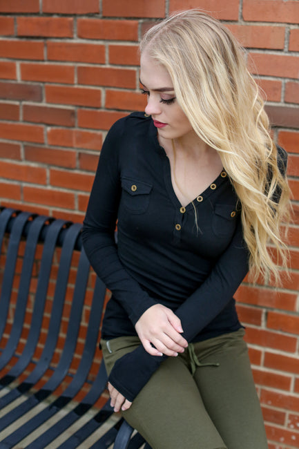 Black T-Shirt Henley - Melissa Jean Boutique