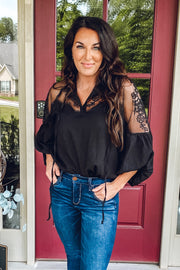 Black Embroidered Chiffon Blouse - Melissa Jean Boutique
