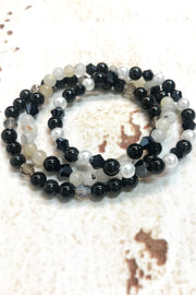 Set of 3 Black and White Gemstone Stretch Bracelets by Dazzled by Donna - Melissa Jean Boutique