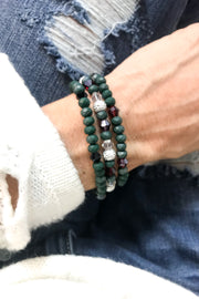 Set of 3 Green Stretch Bracelets by Dazzled by Donna - Melissa Jean Boutique