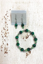 Green Tiger Eye Gemstone Earrings and Bracelet Set by Dazzled by Donna - Melissa Jean Boutique