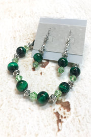 Green Tiger Eye Gemstone Earrings and Bracelet Set by Dazzled by Donna