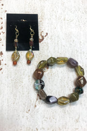 Purple and Green Earrings and Bracelet Set by Dazzled by Donna - Melissa Jean Boutique