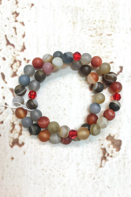 Set of 2 Gemstone Stretch Bracelets Orange, Reds, Grays by Dazzled by Donna