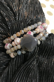 Gray, Cream and Pink Gemstone Dazzle Stax by Dazzled by Donna - Melissa Jean Boutique