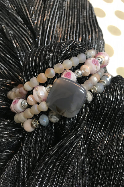Gray, Cream and Pink Gemstone Dazzle Stax by Dazzled by Donna