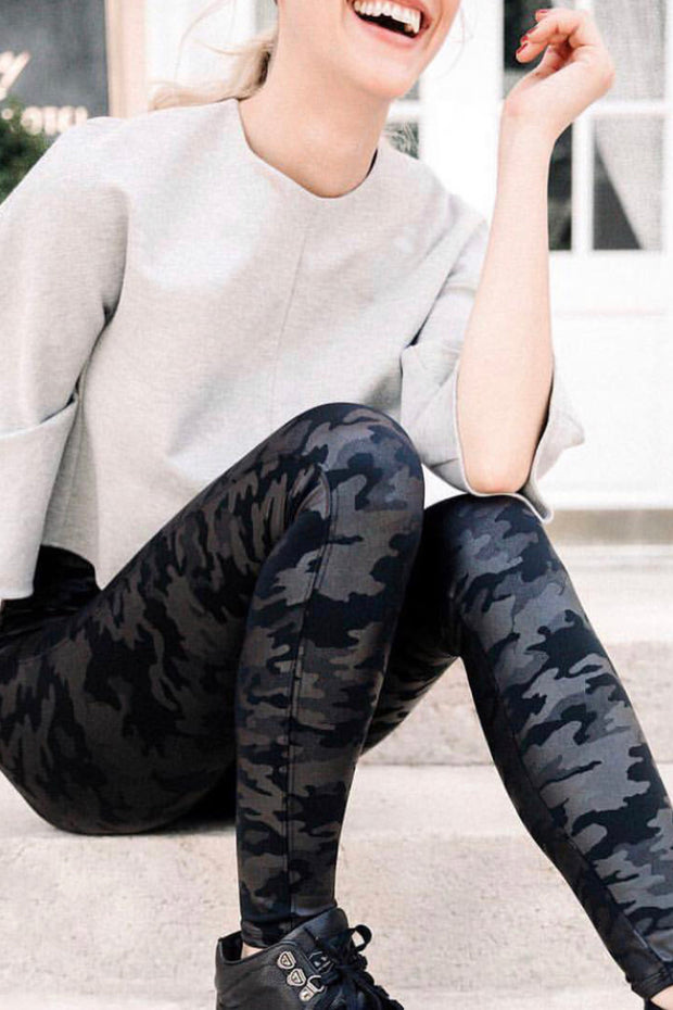Spanx Black Camo Faux Leather Leggings - Melissa Jean Boutique