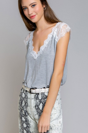 Sweetheart Grey V-Neck Lace Top - Melissa Jean Boutique