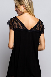 Sweetheart Black V-Neck Lace Top - Melissa Jean Boutique