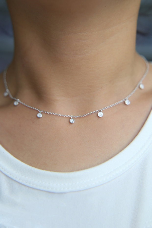 Samantha Silver CZ Choker Necklace - Melissa Jean Boutique