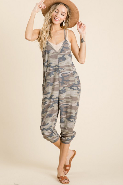 Camo Jumpsuit with Pockets ***Pre-Order - Melissa Jean Boutique