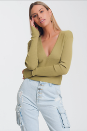 V-Neck Ribbed Lightweight Green Sweater Top - Melissa Jean Boutique