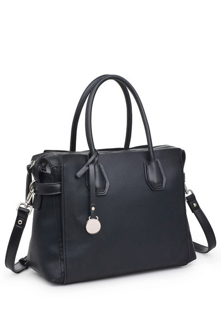 Claudia Luxury Vegan Black Satchel - Melissa Jean Boutique