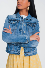 Cropped Denim Jacket in Light Blue Wash - Melissa Jean Boutique