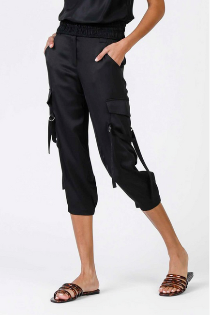 Uptown Satin Cargo Joggers - Melissa Jean Boutique