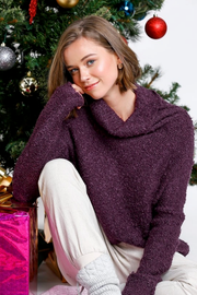 Fuzzy Grape Knit Turtleneck Sweater