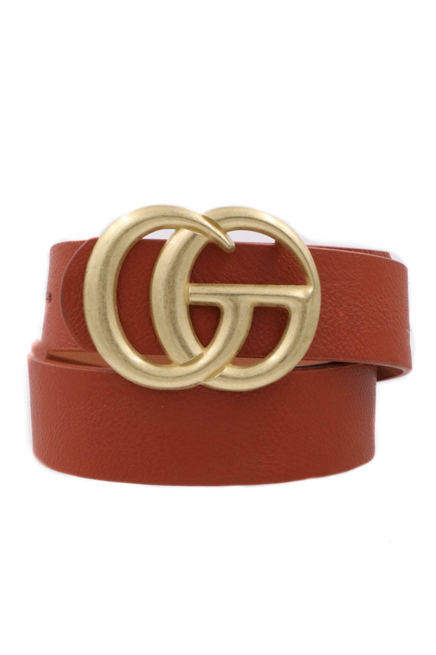 GiGi Belt Brown with Matte Gold