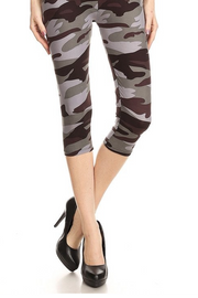 Smooth As Butter Gray Camo Cropped Leggings