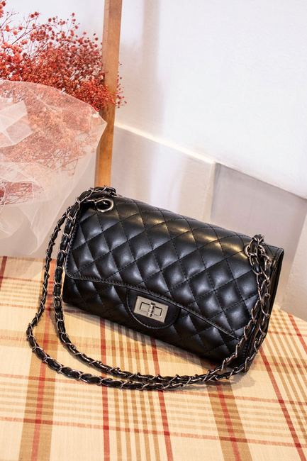 Black Quilted Vegan Handbag