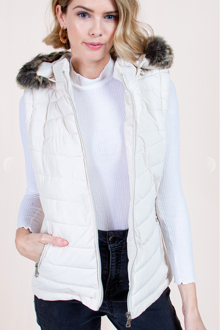 Pearl White Puffer Vest with Detachable Fur Hood