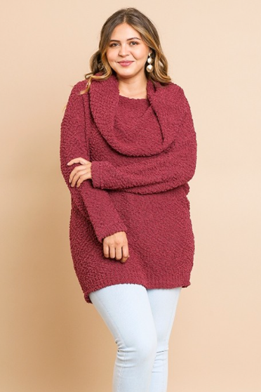 Marsala Cowl Neck Sweater *Plus Size