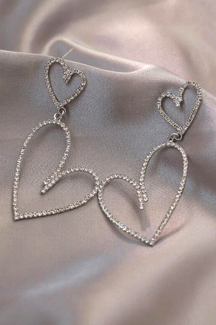 Crystal Double Heart Earrings