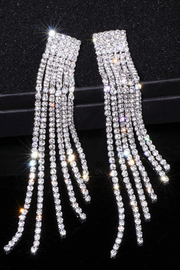 Crystal Rhinestone Long Tassel Earrings