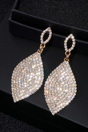 Gold Teardrop Dangle Crystal Rhinestone Earrings
